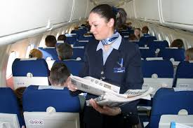 Another example of the flight attendant turn-and-smile