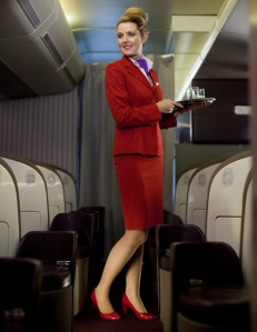Example of the flight attendant turn-and-smile